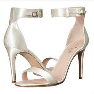 Kate Spade Ivory Satin Isa Ankle Strap Sandals